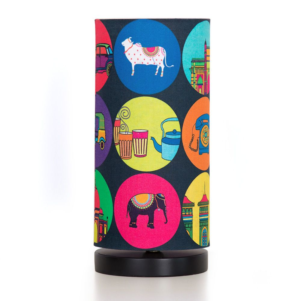 India Vibrant Round Table Lamp