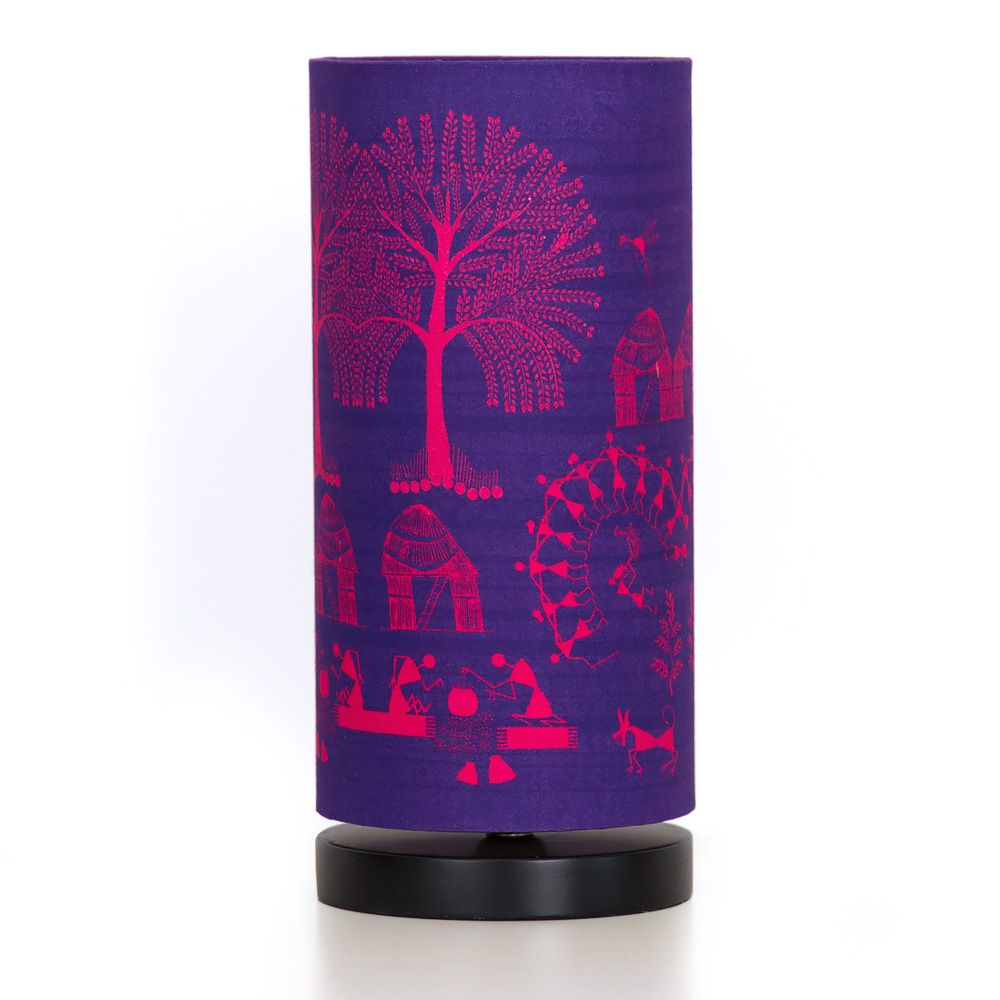 Warli Village Round Table Lamp