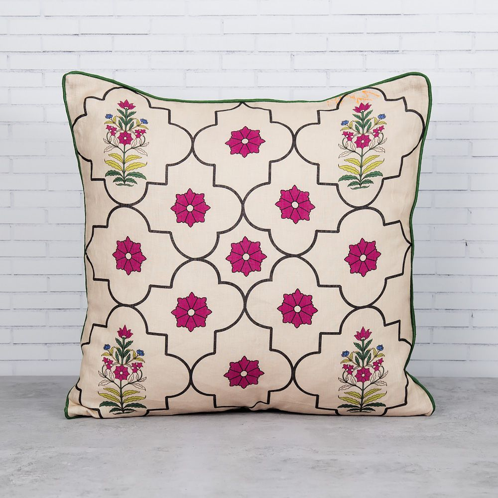 Floral Lattice Linen Cushion Cover