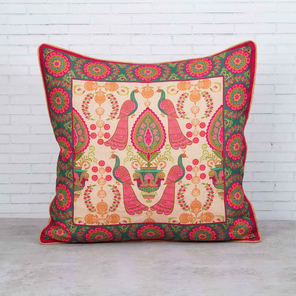Twin Indian Peafowl Linen Cushion Cover