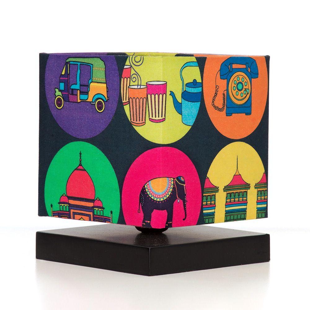 India Vibrant Square Table Lamp