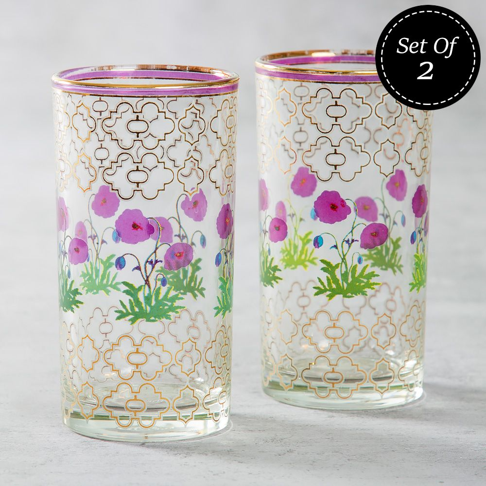 Floral Twinkles Glass Tumbler (Set of 2)
