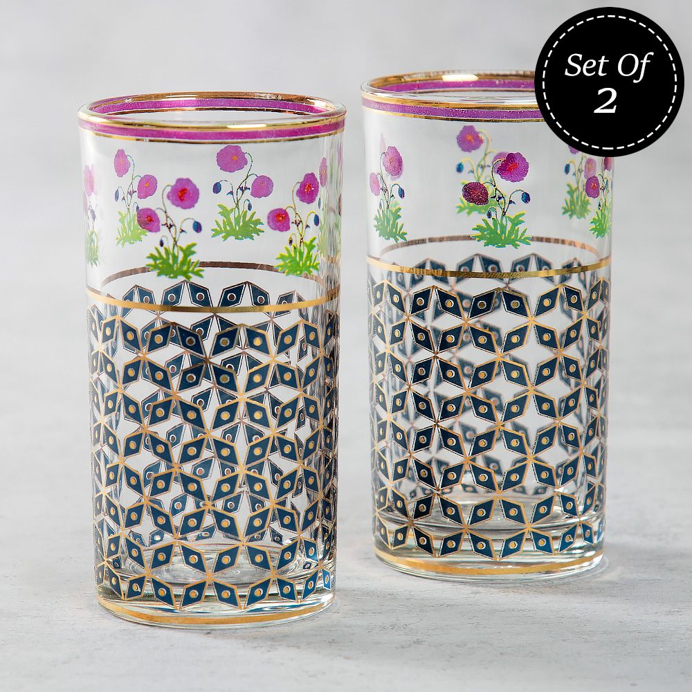 Flowers and Ferns Glass Tumbler (Set of 2)