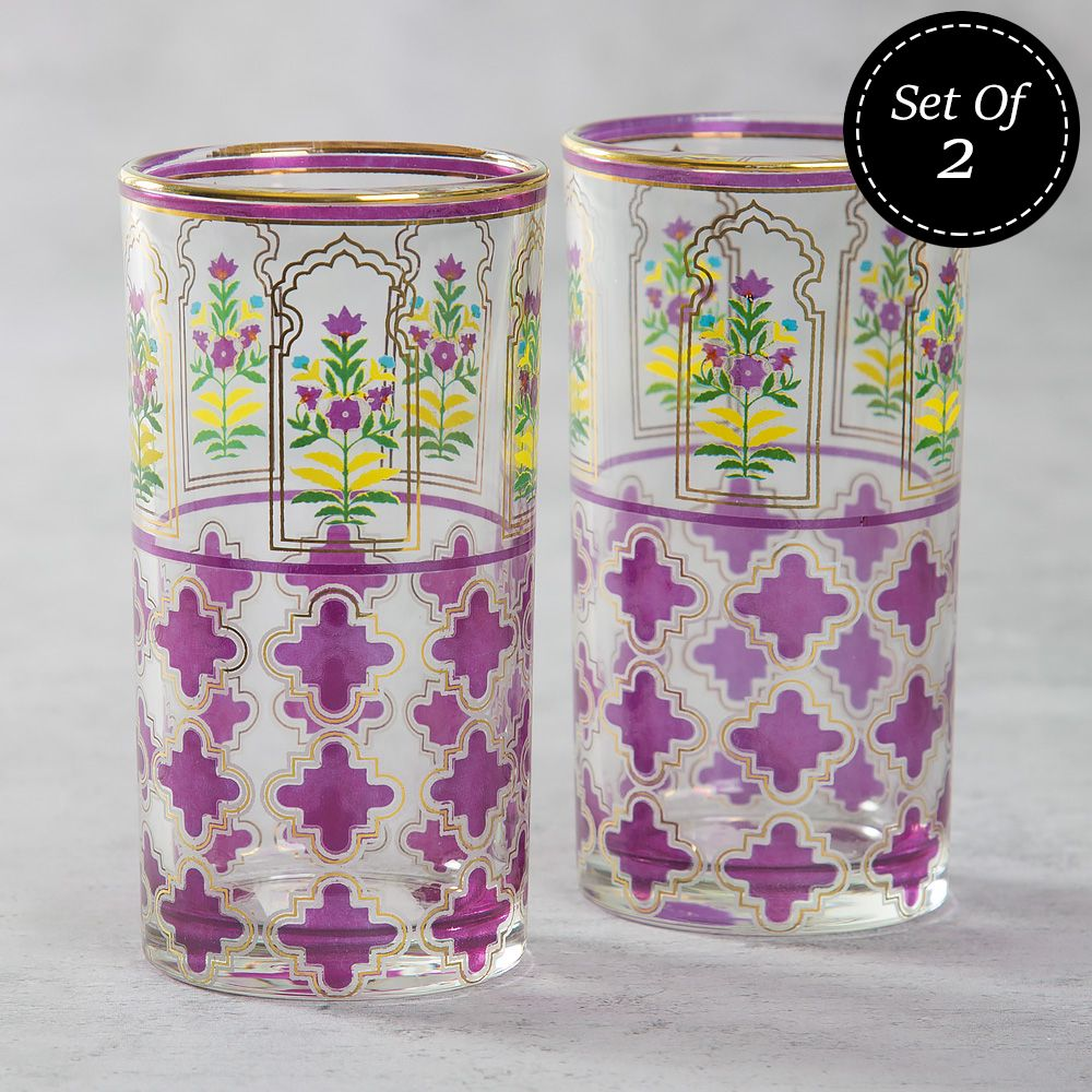 Floral Lattice Glass Tumbler (Set of 2)
