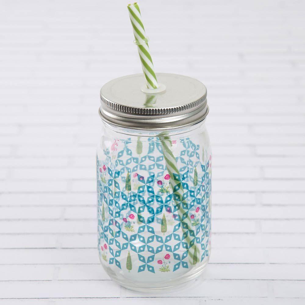 Flowers and Ferns Mason Glass Jar