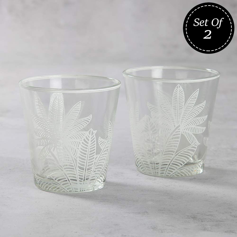 Lucid Folioles Glass Tumbler (Set of 2)