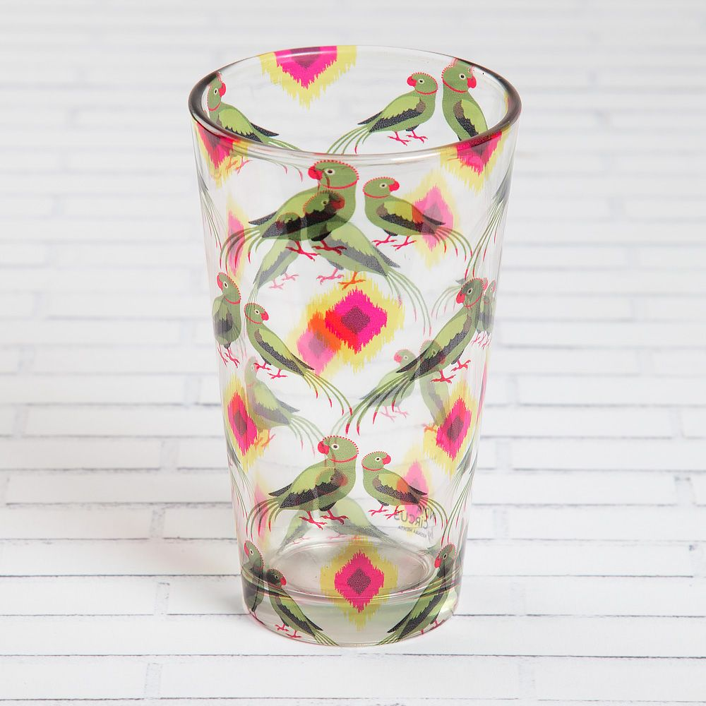 Madan's Parrots Glass Tumbler