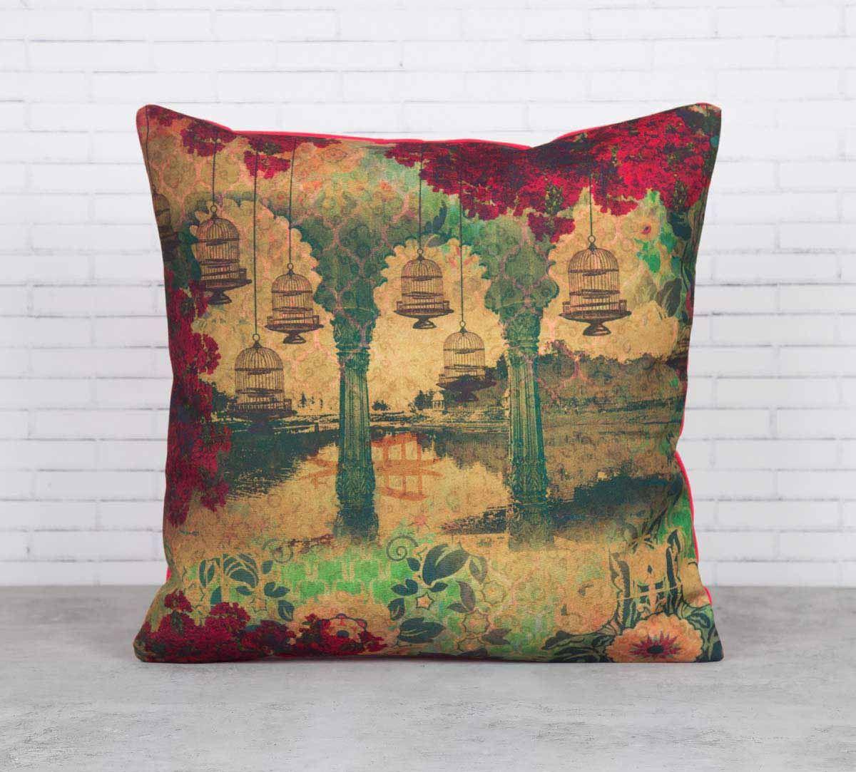 Ambushed Cages of Fervor Canvas Blend Cushion Cover