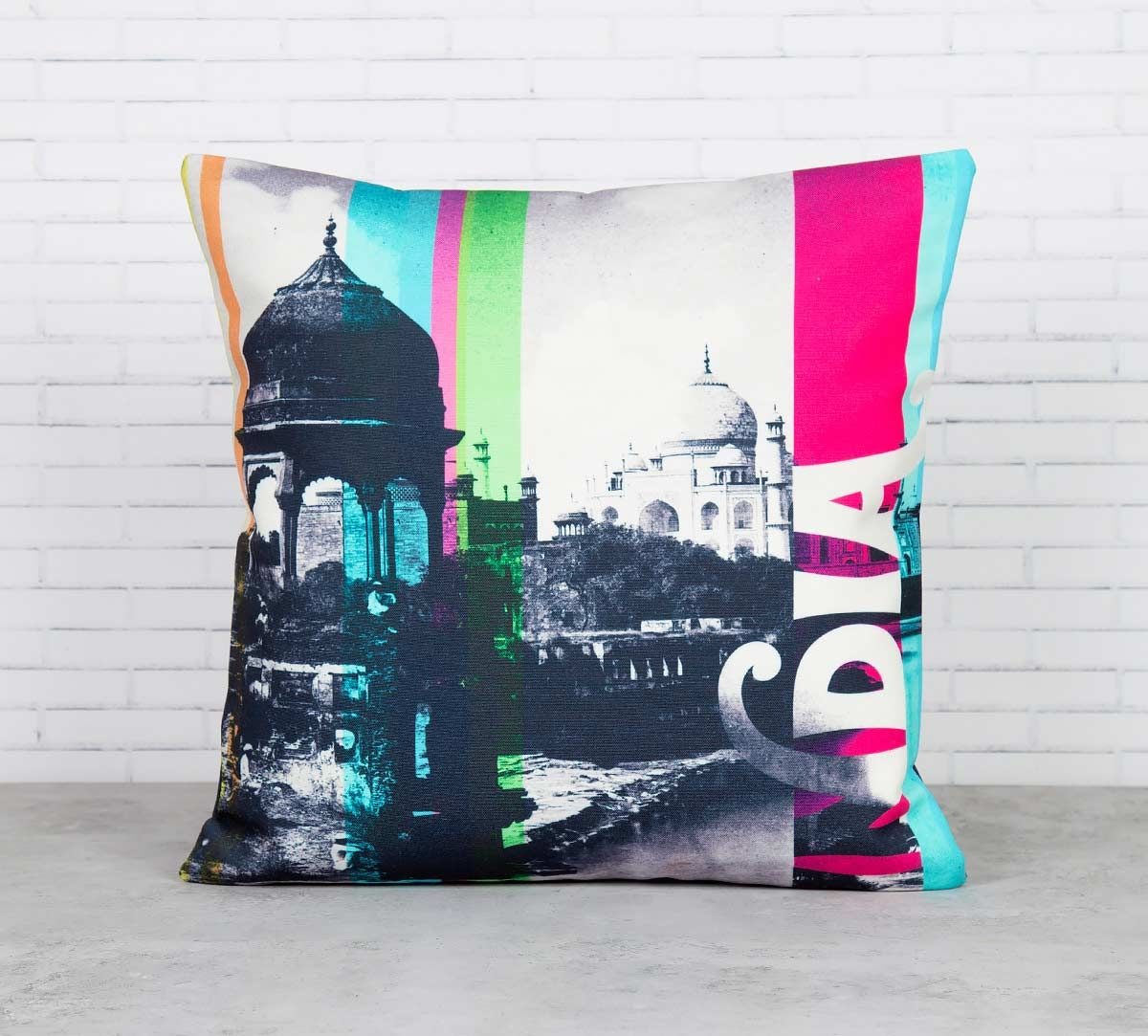 Strokes of India Canvas Blend Cushion Cover