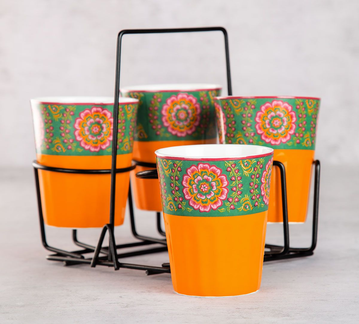 Twin Indian Peafowl Chai Glasses (Set of 4)