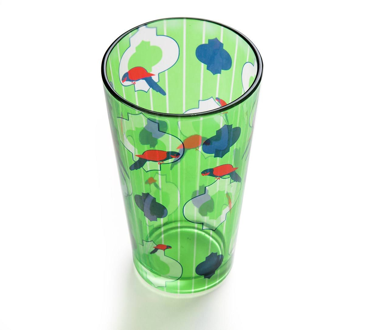 Peeking Parrots Glass Tumbler