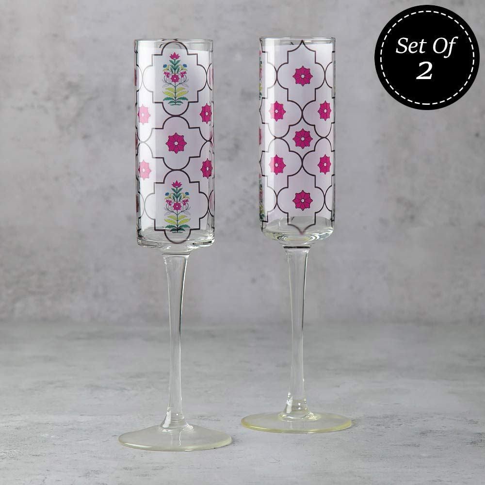 Floral Lattice Champagne Glasses (Set of 2)