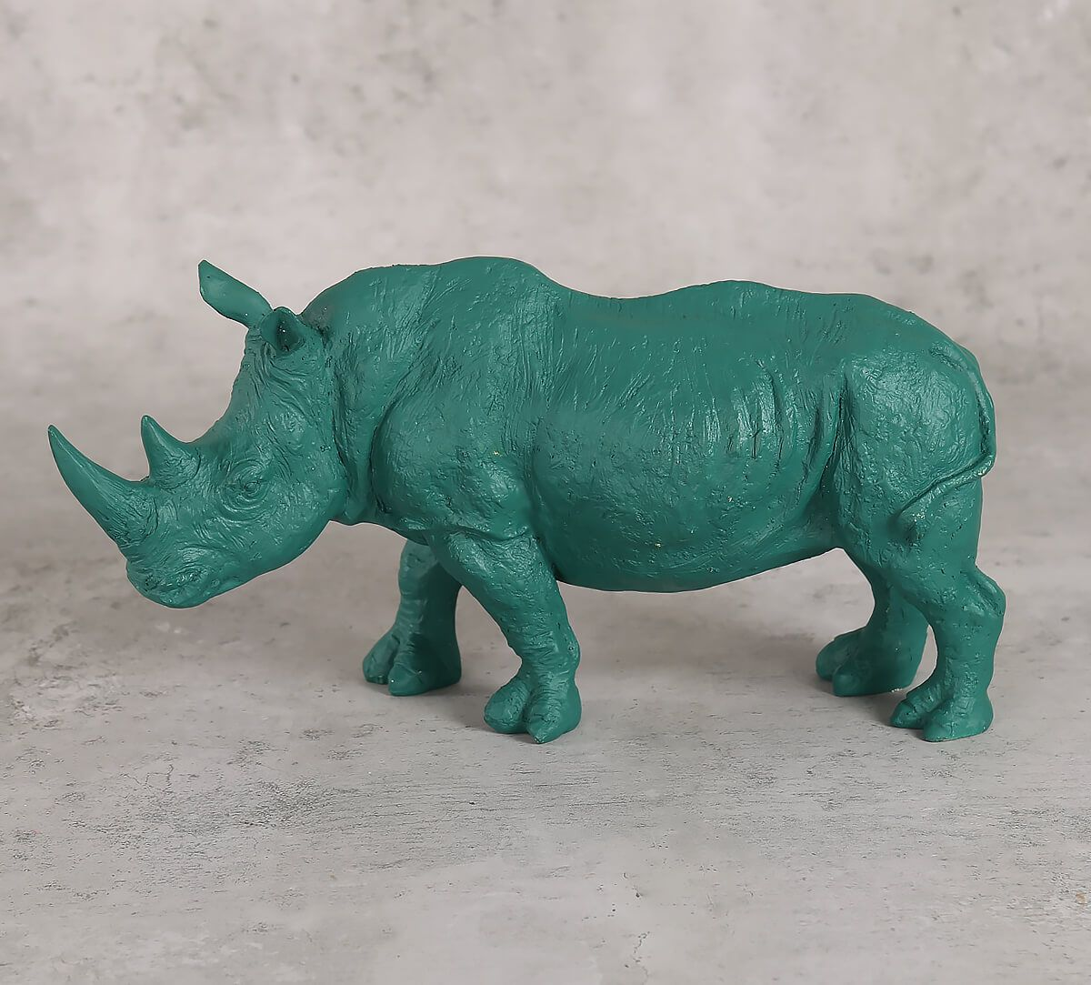 India Circus Sky Blue Rhino Calf Figurine