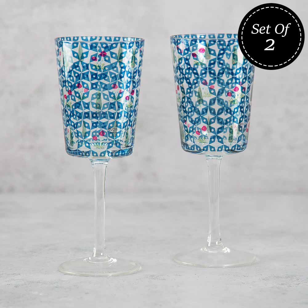 Flowers and Ferns Wine Glasses (Set of 2)