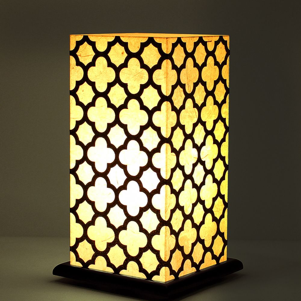 Bohemian White Treillage Table Lamp