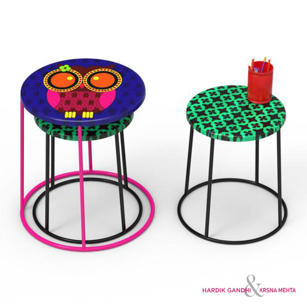 Jalebi Owl Howl Round Side Table