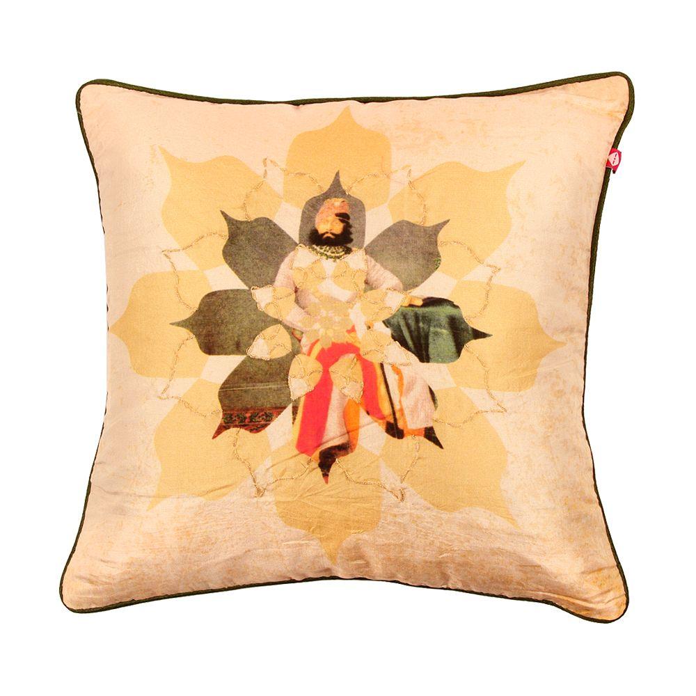 Neo Nawab Rocking Raja Silk with Poly Dupion Back & Piping Cushion Cover-11164