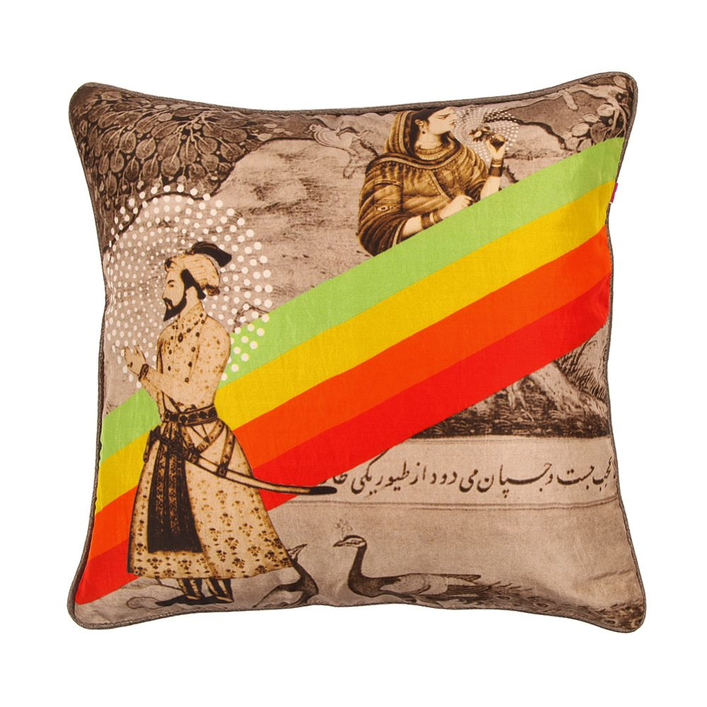 Neo Nawab Romance Raja Silk with Poly Dupion Back & Piping Cushion Cover-11162