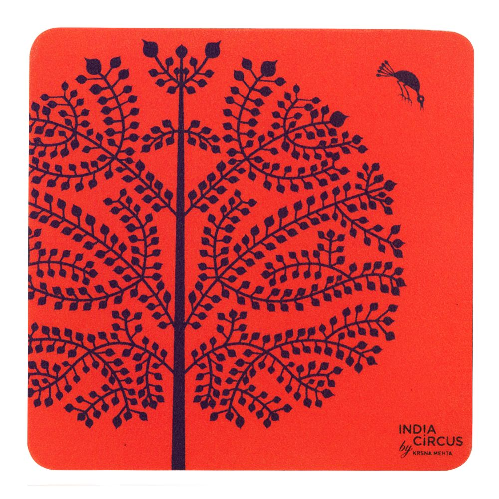 Purple Tree Warli Rubber Coasters - (Set of 6)