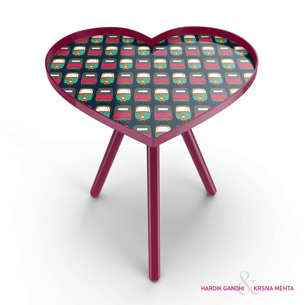 Rickshaw Masti Heart Side Table
