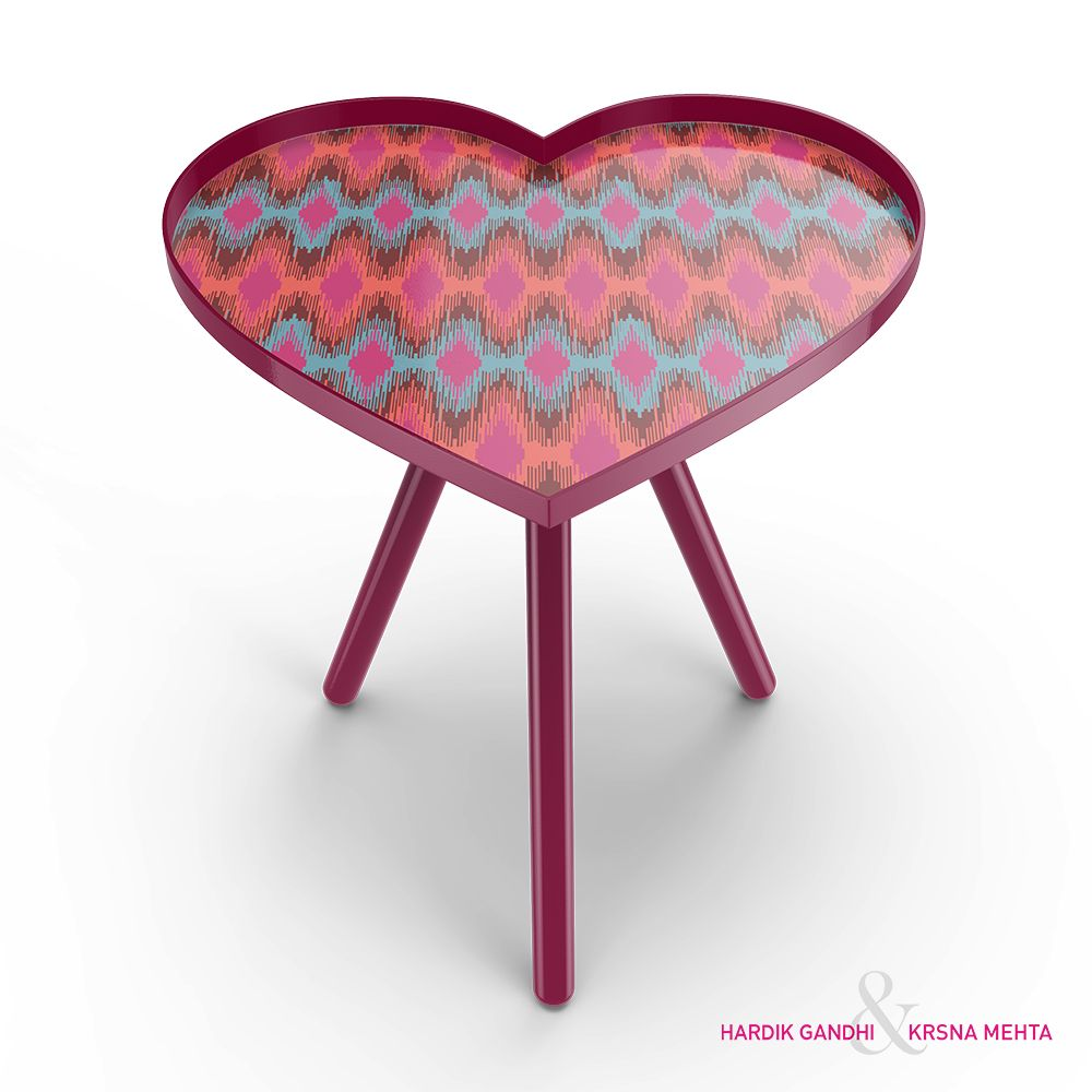Spectrum Ikat Heart Side Table