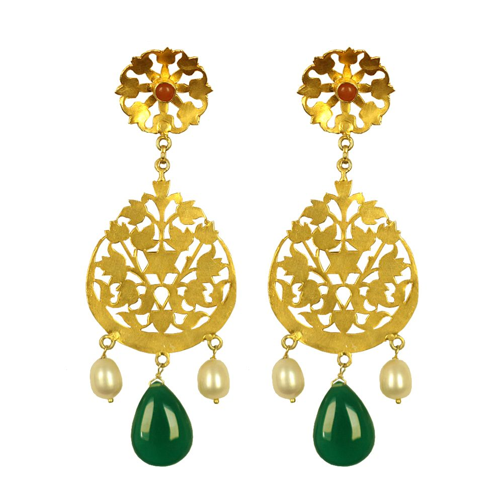 Tamara Circle of Green Onyx and Pearl Earrings