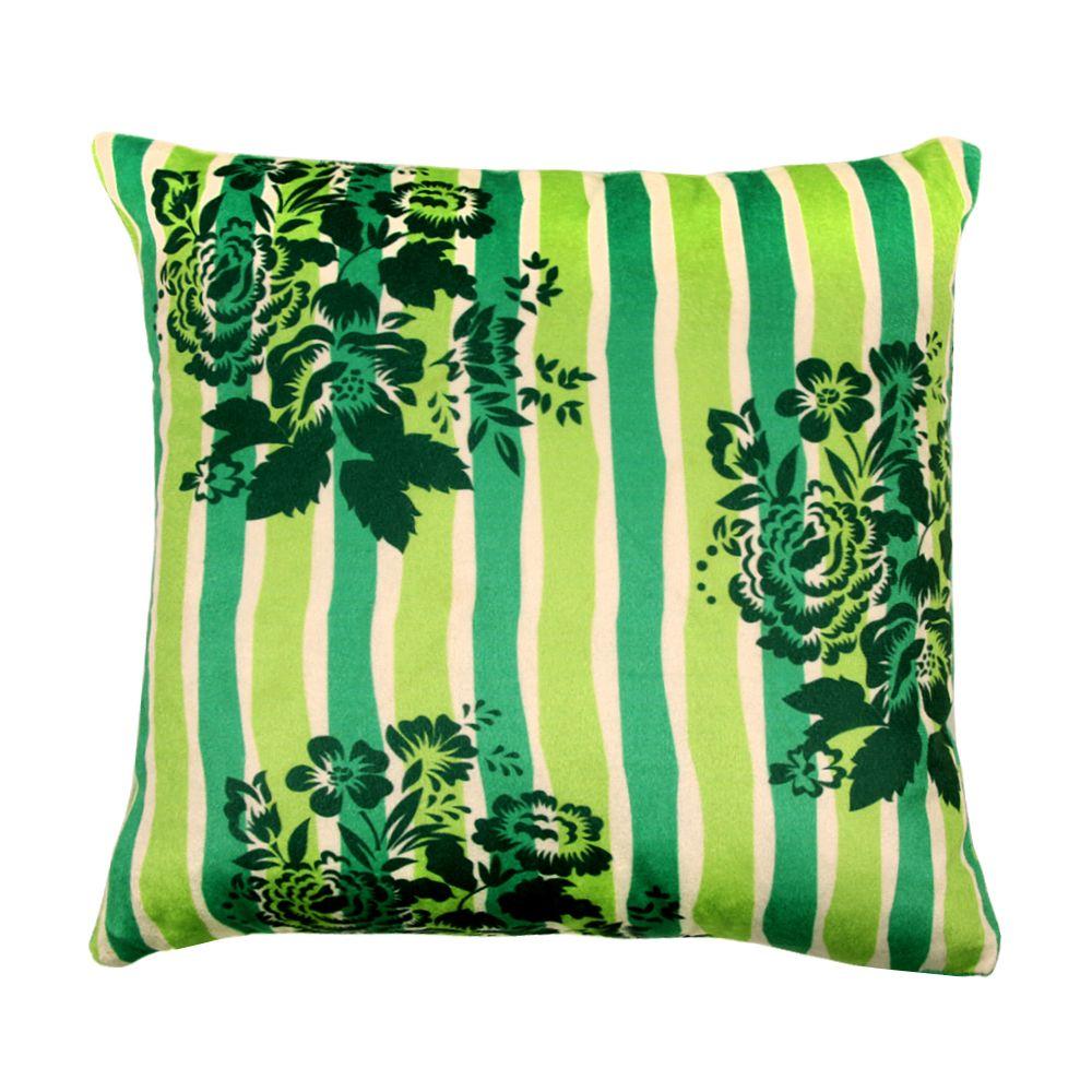 Tamara Green Flowers Poly Velvet Cushion Cover-11193