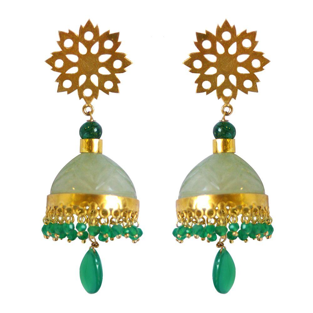 Tamara Green Onyx Dome Earrings