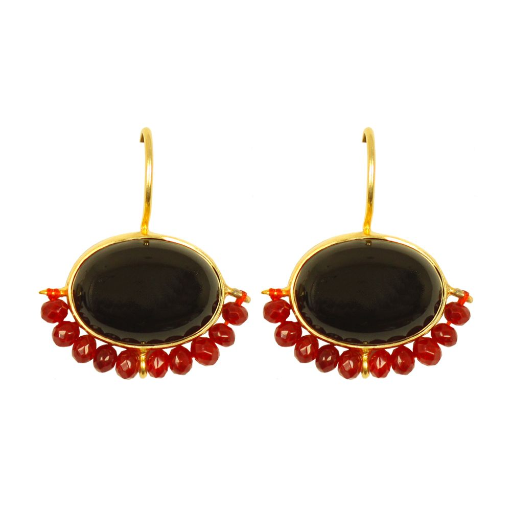 Tamara Midnight Black & Red Onyx Earrings