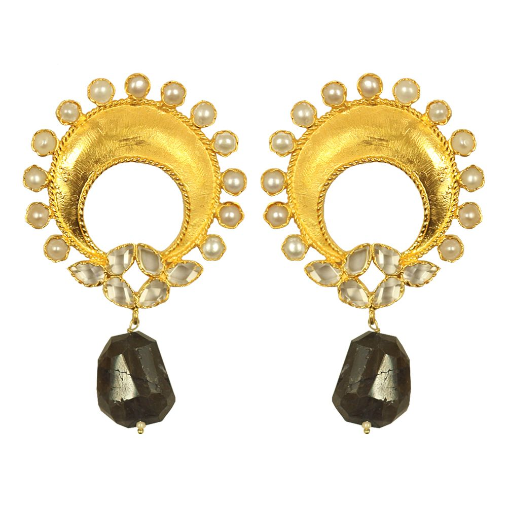 Tamara Moonshine Pearl and Onyx Earrings