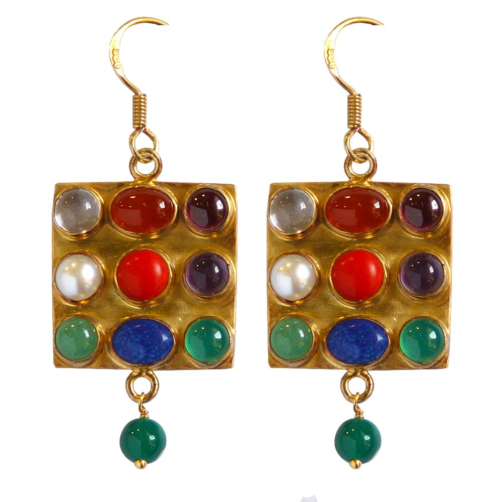 Tamara Mosaic Stone Silver Earrings
