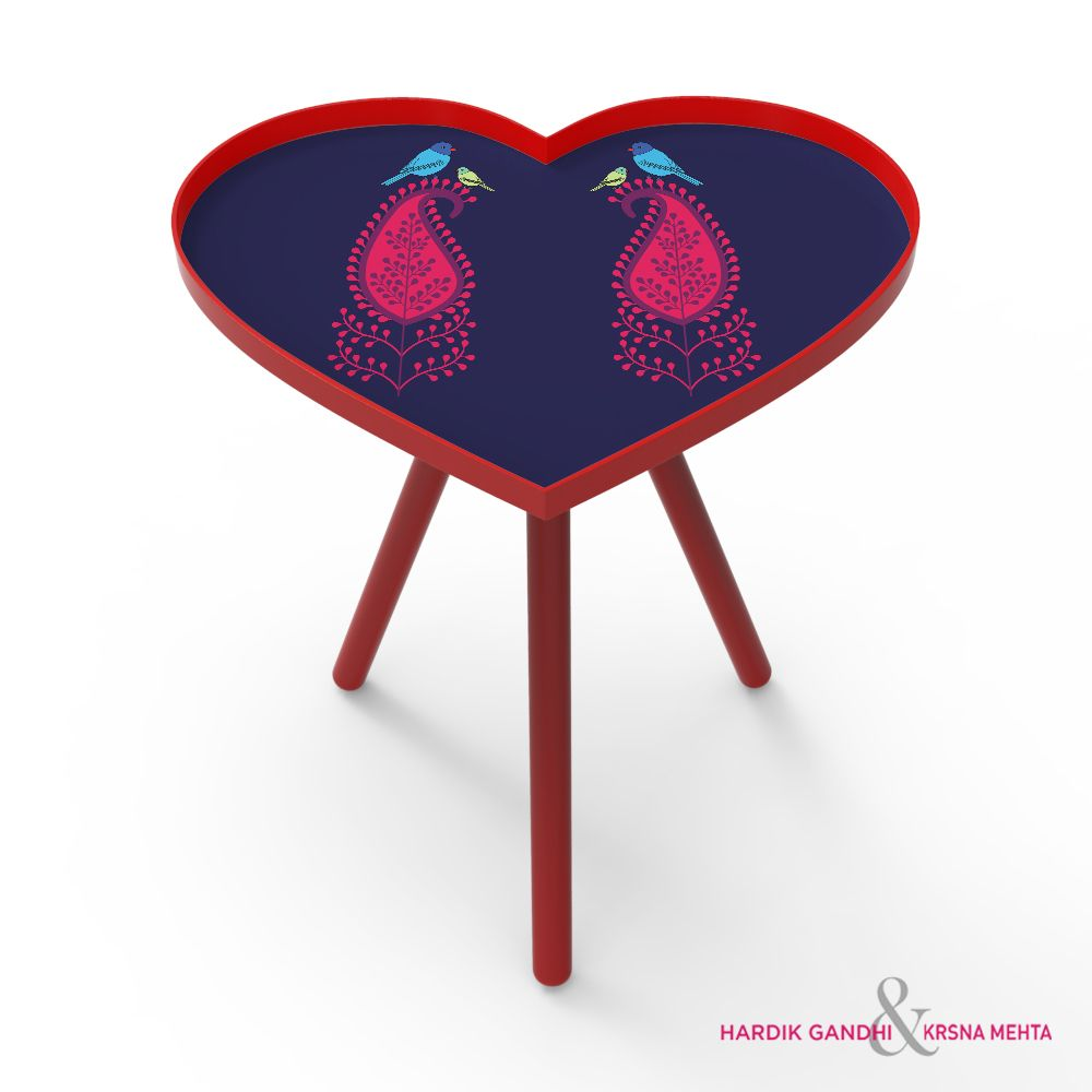 Tamara Paisley Fun Heart Side Table