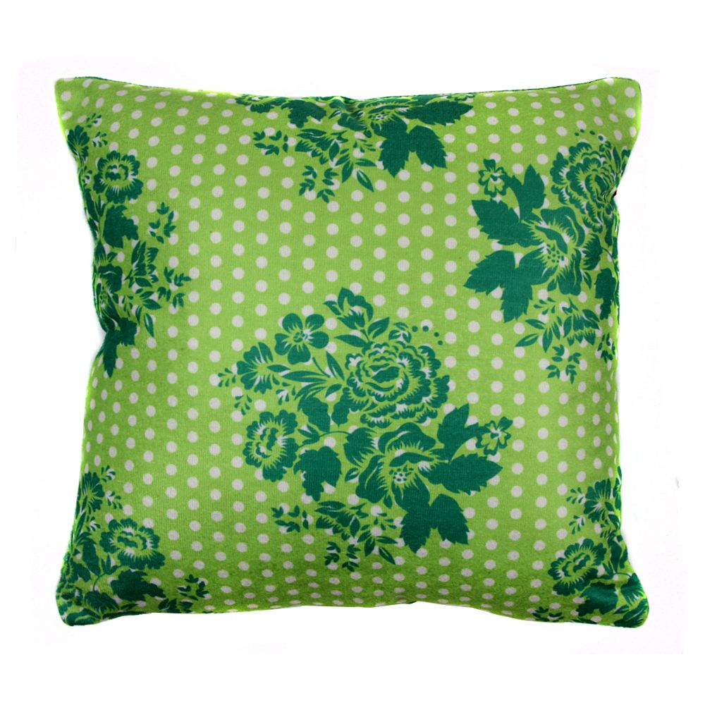 Tamara Polka Flowers Poly Velvet Cushion Cover-11196