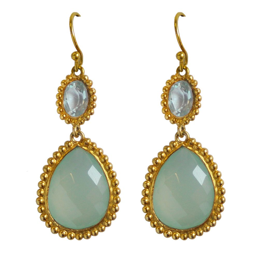 Tamara Raindrop Blue Blue Topaz and Calcidony Earrings