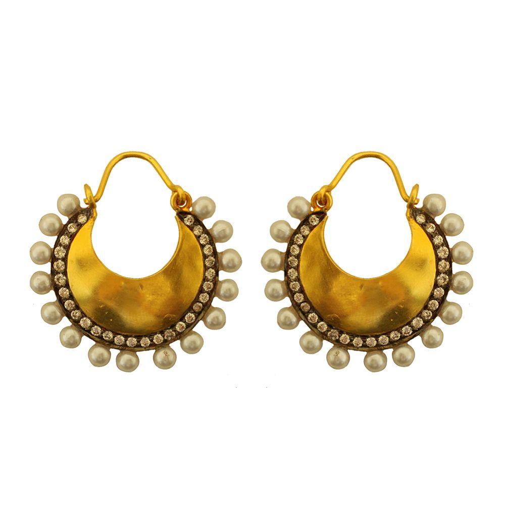 Tamara Silver Zircon Pearl Earrings
