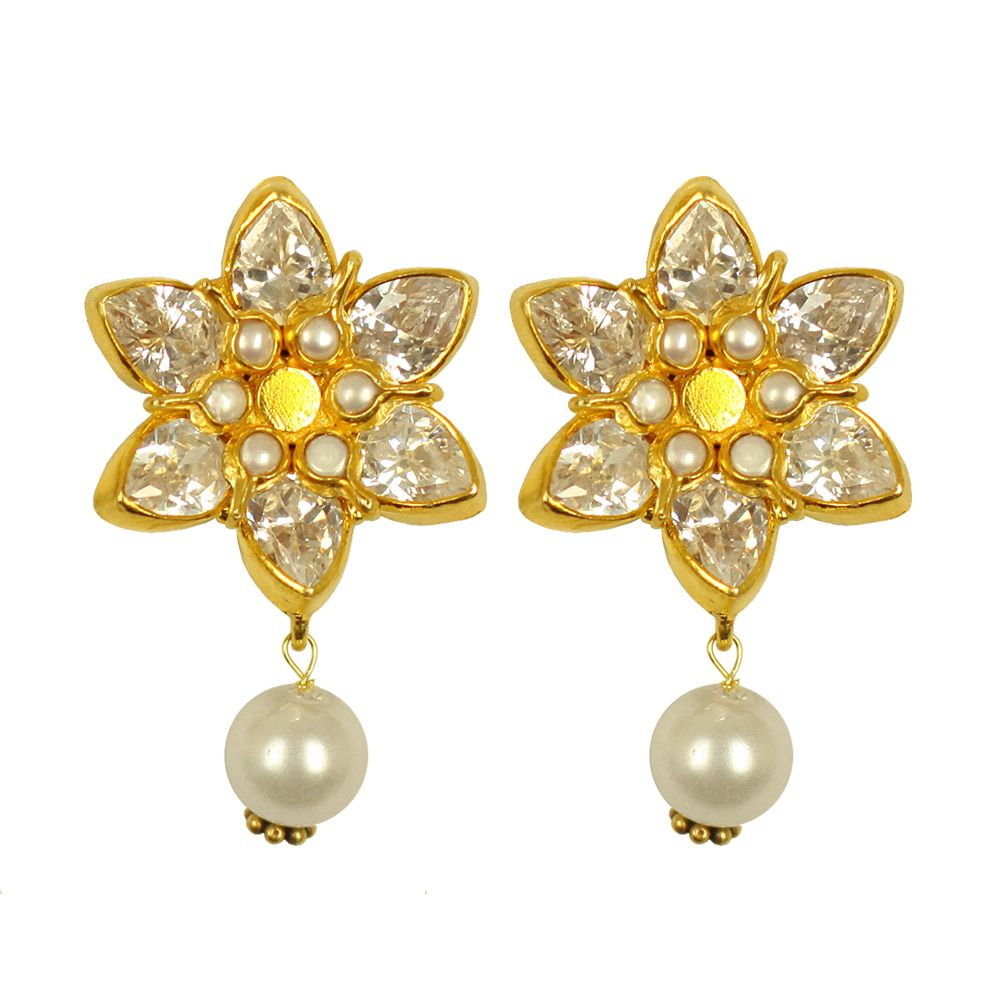 Tamara Sparkling Zircon Pearl Earrings