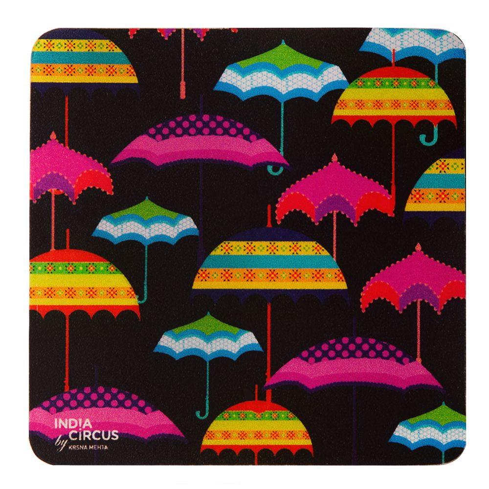 Umbrellas Rubber Coasters - (Set of 6)