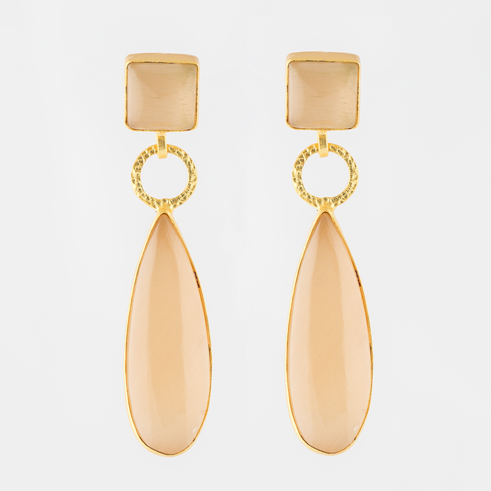 Agate Brass Earrings