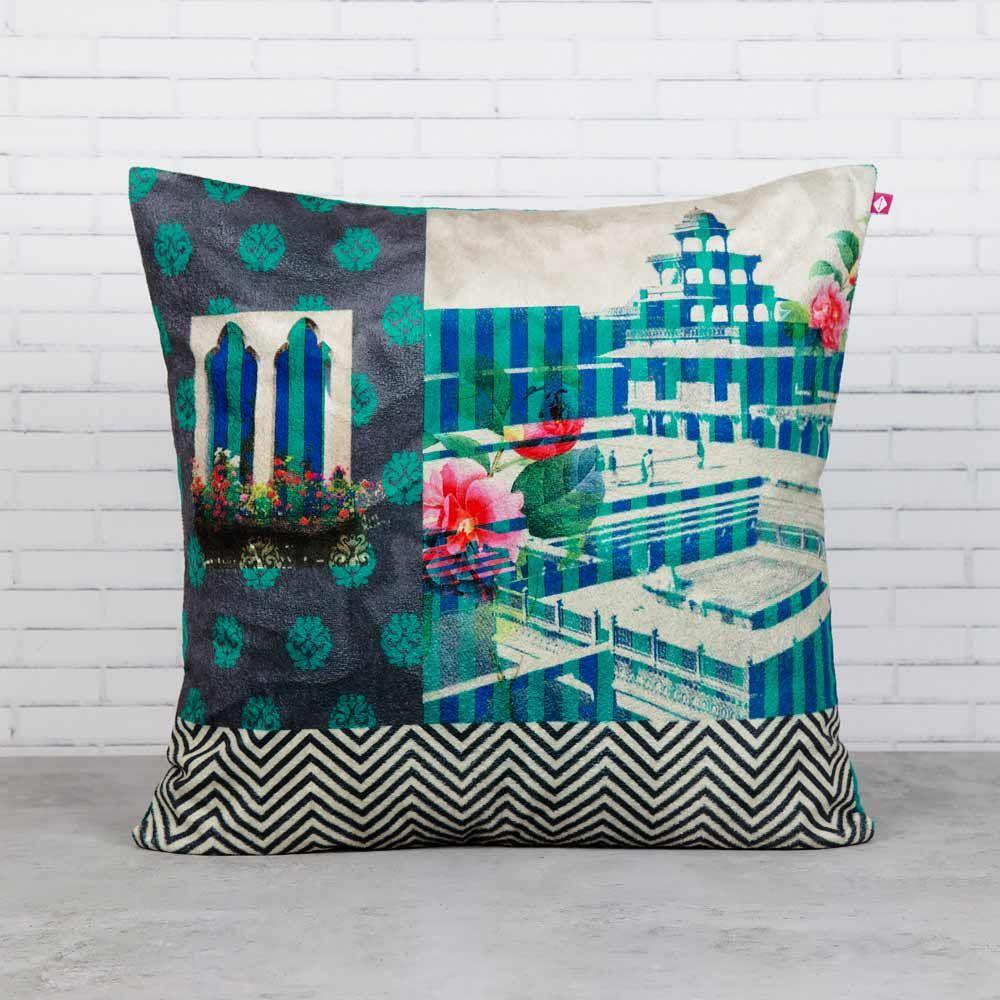 Aquamarine Echoes Blended Velvet Cushion Cover