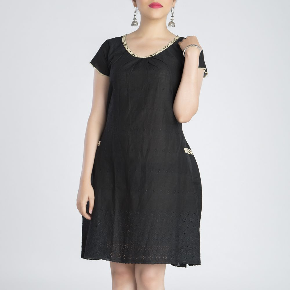 Black Cutwork Cotton Dress