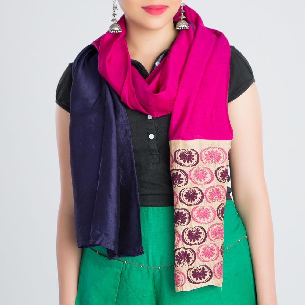 Black Pink Embroidered Silk Stole