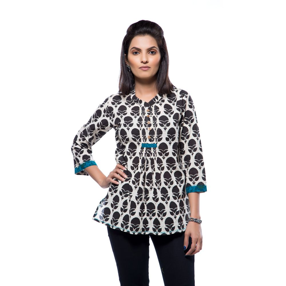 Boho Black & White Pattern Top