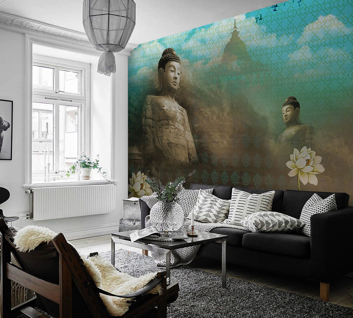 Buddha's Heart Sutra - Turquoise Wallpaper