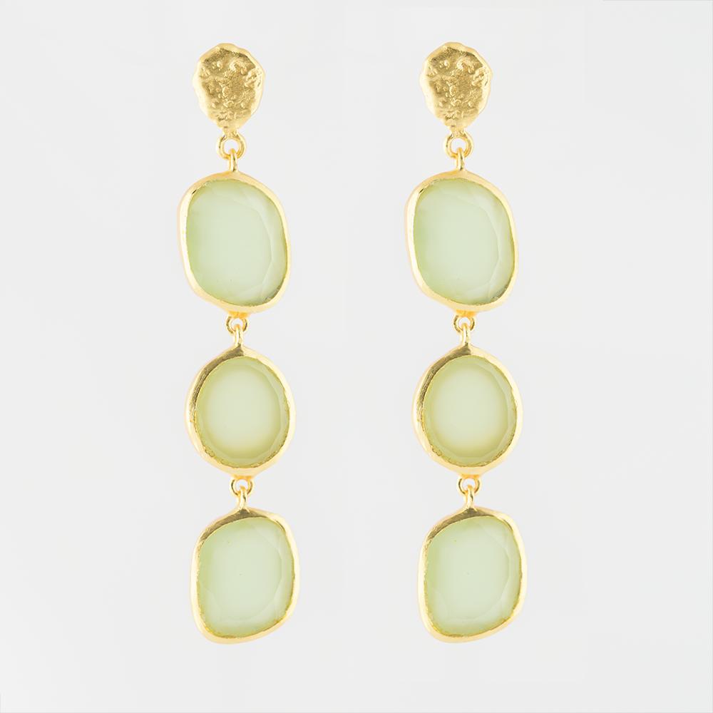Calcedony Brass Earrings