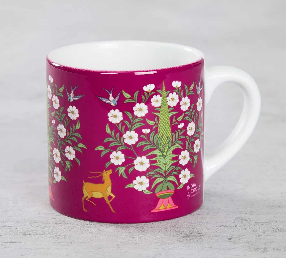 India Circus Deer and Conifer Garden Espresso Mug