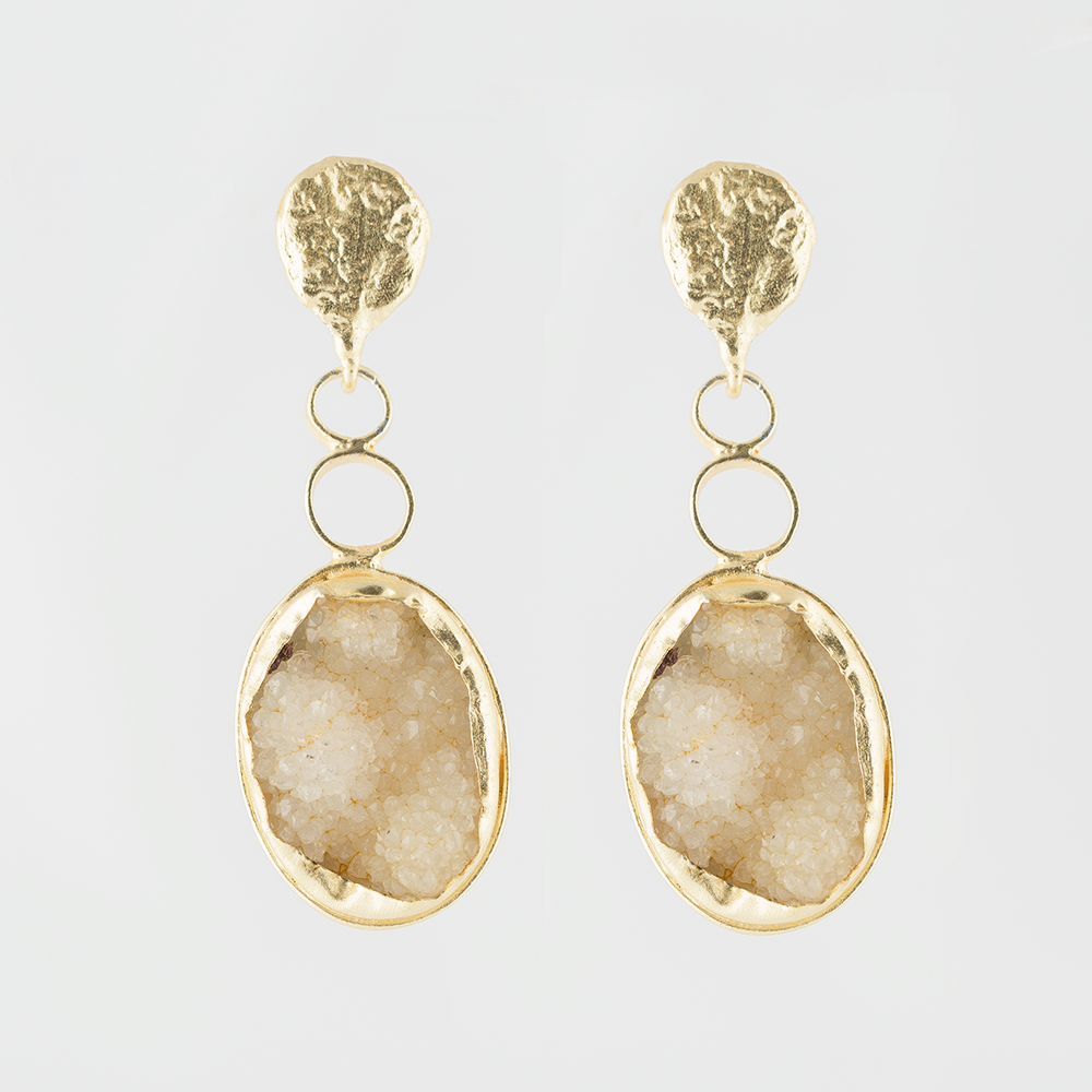Druzy Bead Brass Earrings
