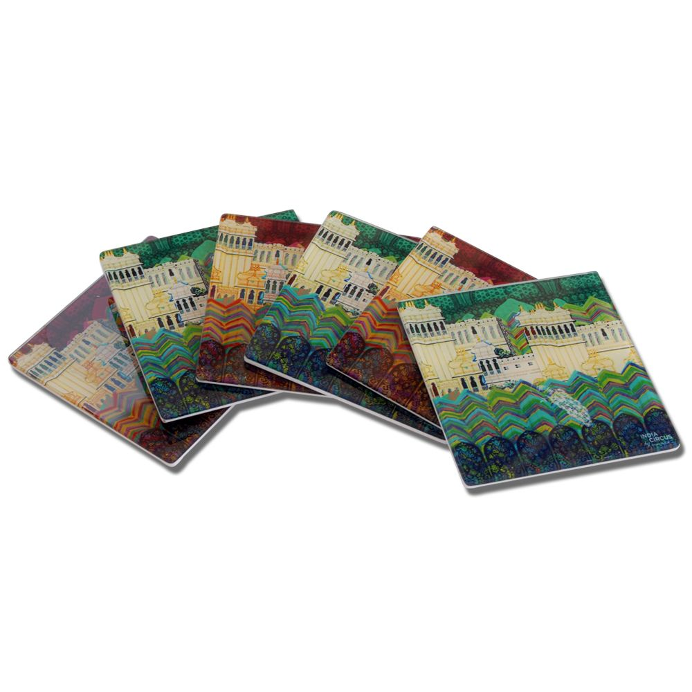 Neo Nawab Elegant Mahal Acrylic Coasters - (Set of 6)