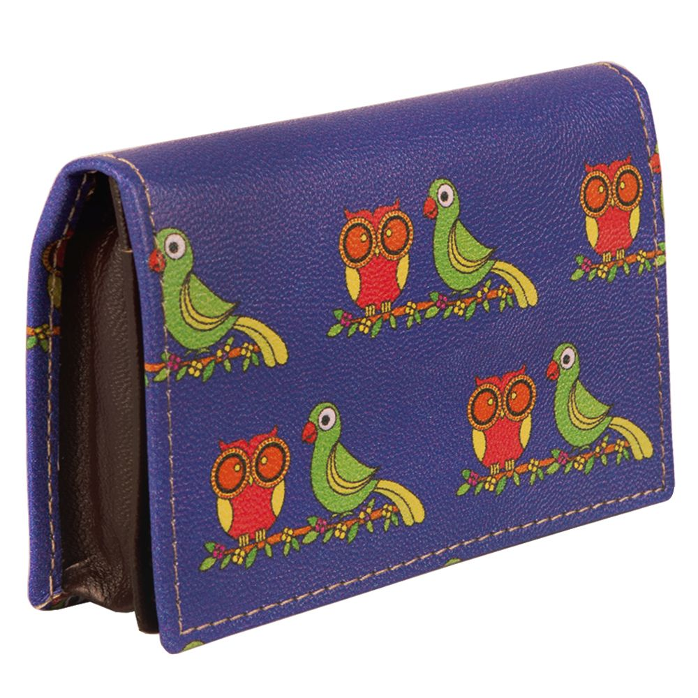 Funky Owl & Parrot Visiting Card Pouch