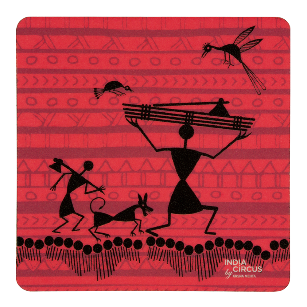 Funky Warli Rubber Coasters - (Set of 6)