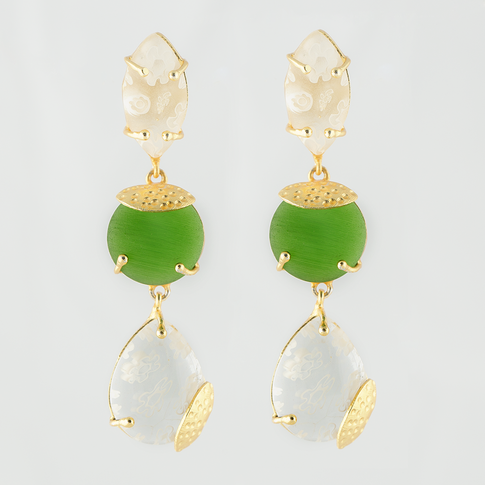 Glass Bead Brass Earrings